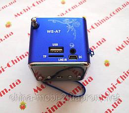 Mini Digital Speaker WS-A7 (портативное радио колонка +TF), фото 3
