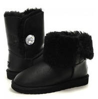 Натуральные угги UGG Australia (Угги Оригинал) Bailey Button Black Leather Jewel. Model: 5803