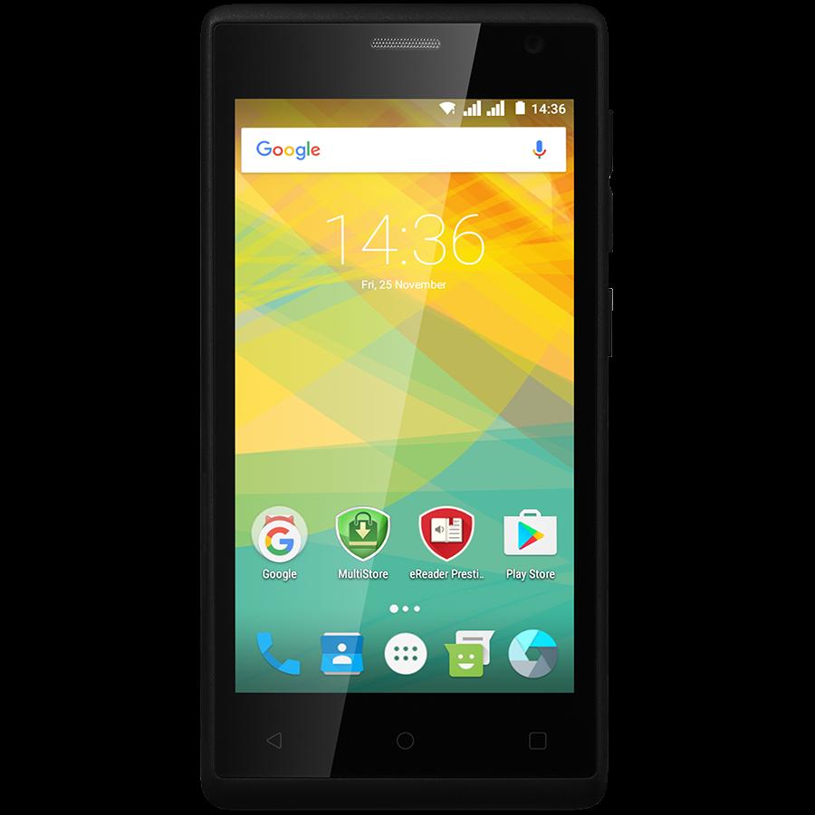Удобный компактный смартфон на 2 сим карты 4,5 дюйма 4 ядра 0,5/4Gb Prestigio Wize OK3 чёрный