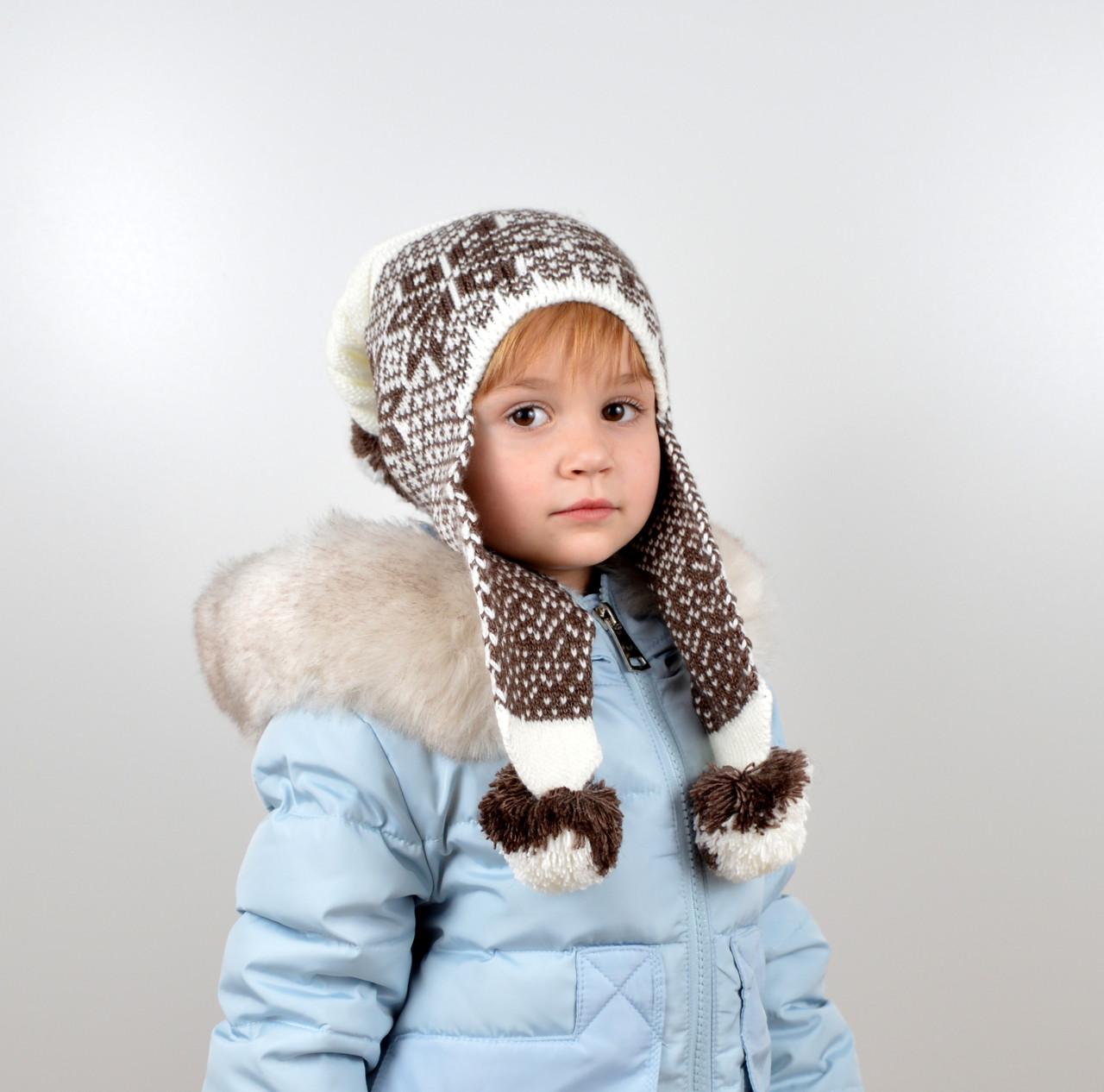 Дитяча шапка з помпонами на флісі
