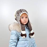 Дитяча шапка з помпонами на флісі, фото 1