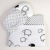 Комплект летний в коляску для новорожденных Белоснежные баоашки одеяло 65х75 подушка 29х23