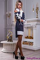 Интересное Платье с Лентами Синий + Белый р.42-48