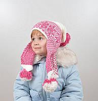 Детская шапка с помпонами на флисе