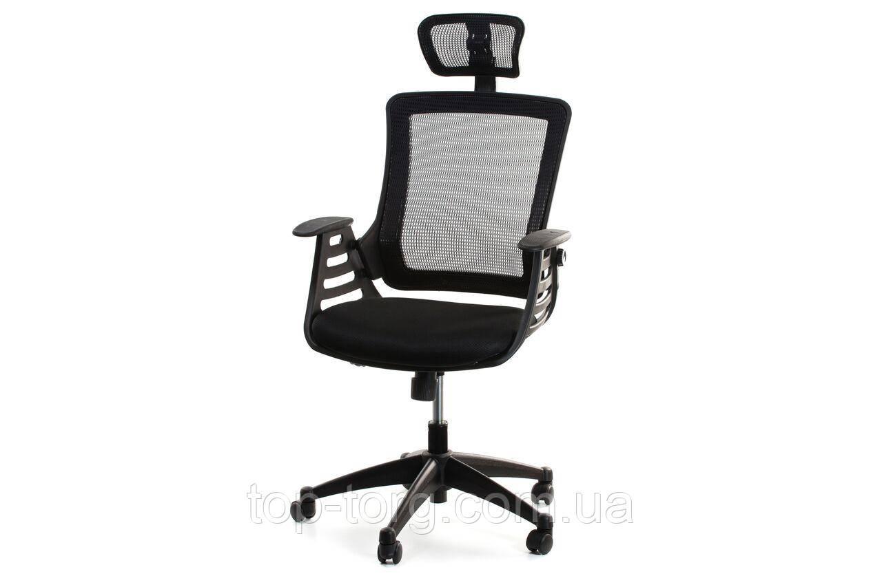 Кресло компьютерное офисное MERANO headrest, Black, черный
