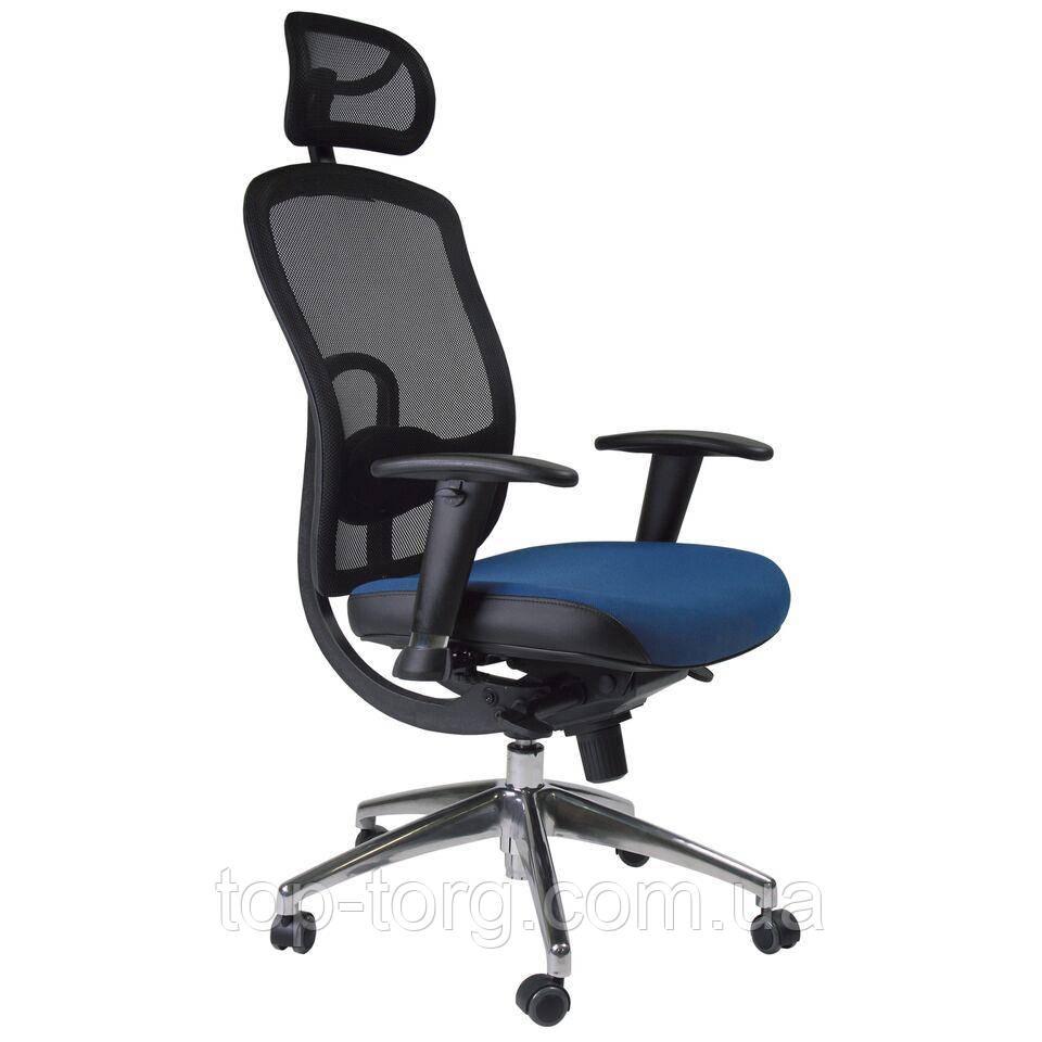 Кресло руководителя LUCCA, blue компьютерное, офисное. Синий, черный цвет