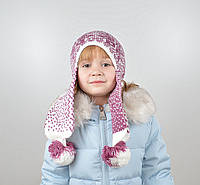 Детская шапка с помпонами на флисе, фото 1