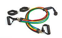 Эспандер Power Bands многофункциональный 5 жгутов  (5 жг. с различ. жестк. силикон, l-120см)