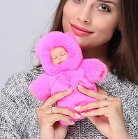 Меховой брелок на сумку Куколка пупс натуральный мех 13 см разных цветов