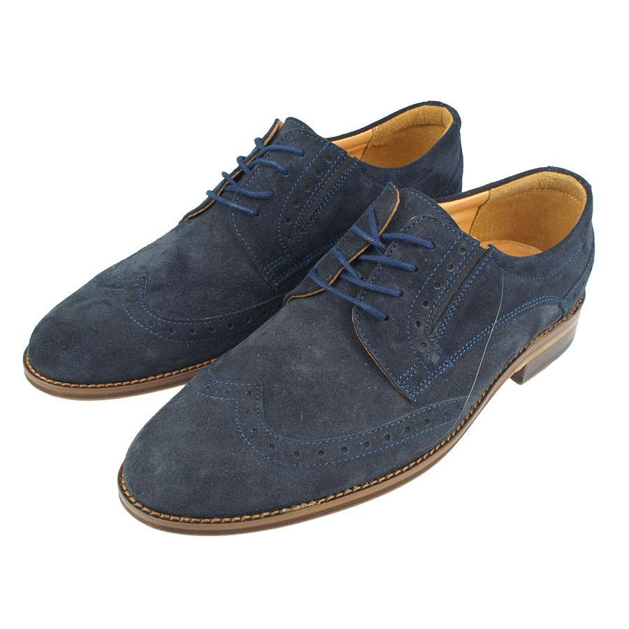 Чоловічі класичні туфлі Tapi A-5499 замш темно-синього кольору
