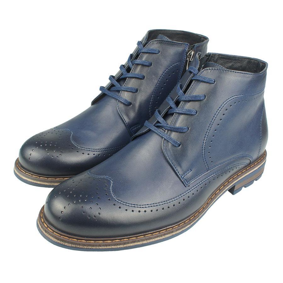 Чоловіче зимове шкіряне  взуття Tapi A-2278 Granatow синього кольору
