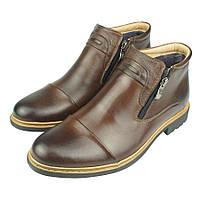 Чоловіче зимове шкіряне взуття Tapi A-2293 Brazowy коричневого кольору