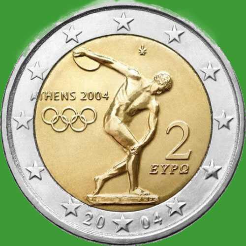 Греция 2 евро 2004 г. Олимпийские игры в Афинах . UNC