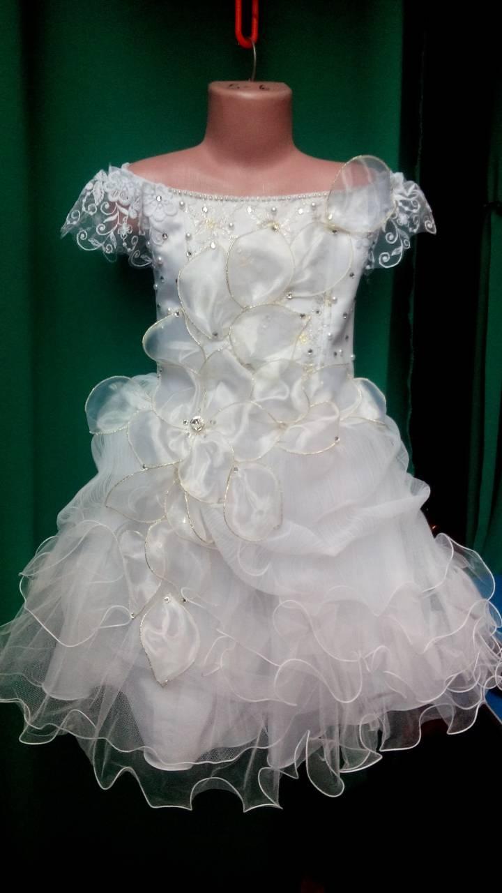 Белое бальное платье для девочки Цветок