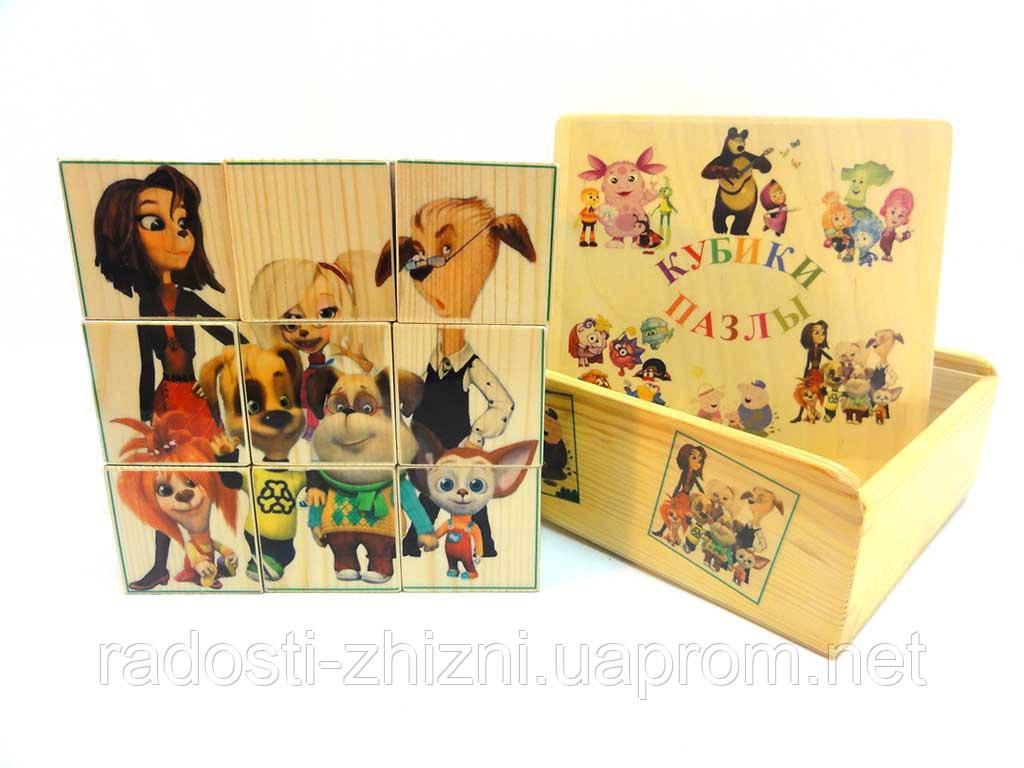 Кубики деревянные с картинками Барбоскины 9 штук