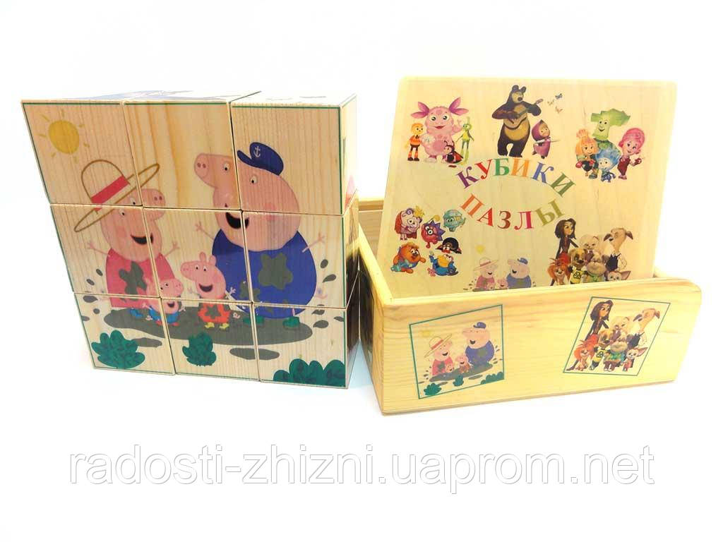 Кубики деревянные с картинками Peppa 9 штук