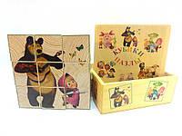 Кубики деревянные с картинками Маша и медведь 9 штук