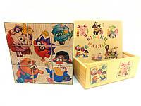 Кубики деревянные с картинками Смешарики 9 штук