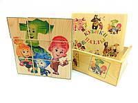 Кубики деревянные с картинками Фиксики 9 штук