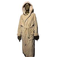 Халаты махра женские с капюшоном на запах удлиненные однотонные