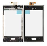 Сенсор (тачскрин) для LG E610 Optimus L5/E612 и рамка  черный Оригинал