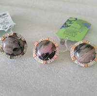 Комплект серебряный с золотыми напайками Яшма, фото 1