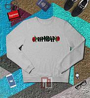 Свитшот RIPNDIP ROSES серый с логотипом,унисекс (мужской,женский,детский)  | Толстовка РипНДип мужская