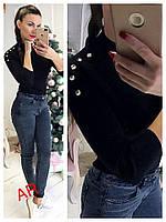 Модный женский свитер (трикотаж рубчик, декор, длинные рукава, воротник стойка) РАЗНЫЕ ЦВЕТА!