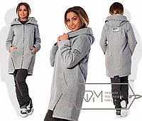 """Женская куртка-пальто демисезон в больших размерах 520-1 """"Кашемир - Шерсть Капюшон Змейки"""" в расцветках"""