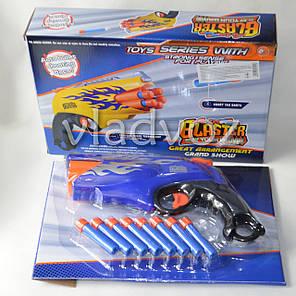 Детский игровой пистолет бластер патронами присосками синий Blaster, фото 2