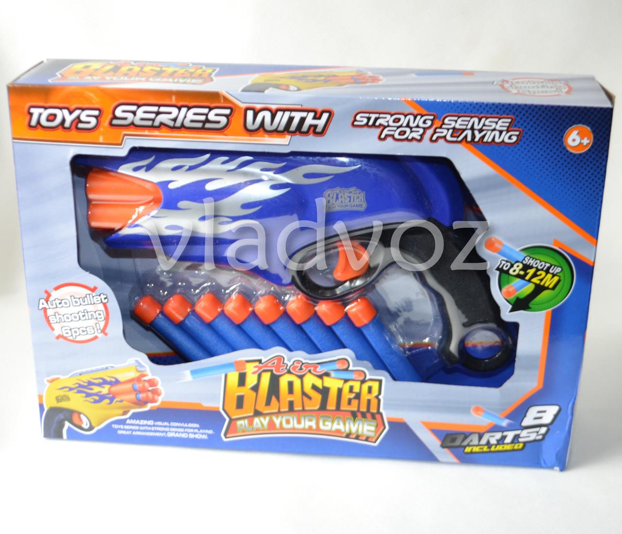 Фото детского пистолета бластера с патронами присосками синий Blaster вид в коробке