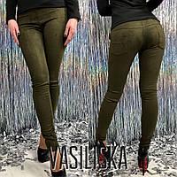Лосины стильные женские из замши с карманами 6 цветов LV64