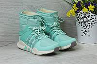 Женские зимние спортивные сапоги, дутики Adidas Equipment код 3800 мятный