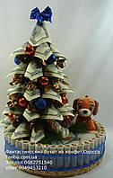 Новогодняя денежная елка с конфетами и символом 2018года