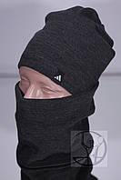 Зимний комплект шапка + бафф Adidas - Серый