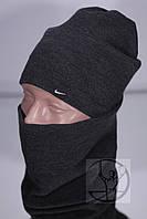 Зимний комплект шапка + бафф Nike - Серый