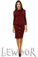Классический костюм кофта с баской и юбка