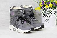 Женские зимние спортивные сапоги, дутики Adidas Equipment код 3796 серые