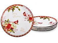 Набор тарелок фарфоровых 6 штук Рождество диаметр 18 см Новогодняя коллекция 924-149