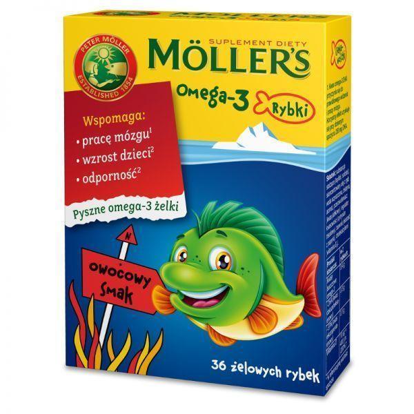 Tran Mollers Omega-3 рыбки, фруктовый вкус, 36 шт