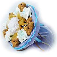 Букет из мягких игрушек Мишки 5 в голубом