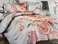 Двухспальное постельное белье с ефектом 3D с розами