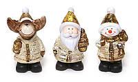 Новогодняя игрушка NY01-51 Декоративная статуэтка 3вида (Олень, ДедМороз, Снеговик) 6,5х5х10см керамика уп12