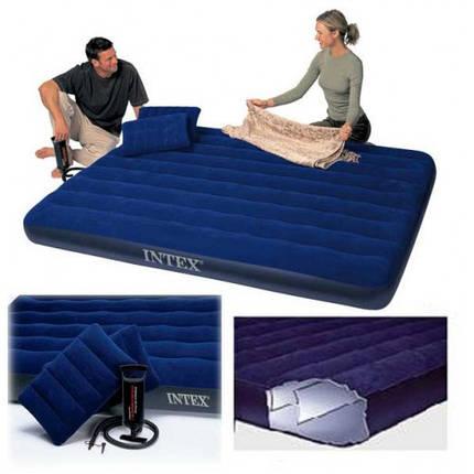 Двуспальный надувной матрас Intex 68765 с насосом и подушками, фото 2