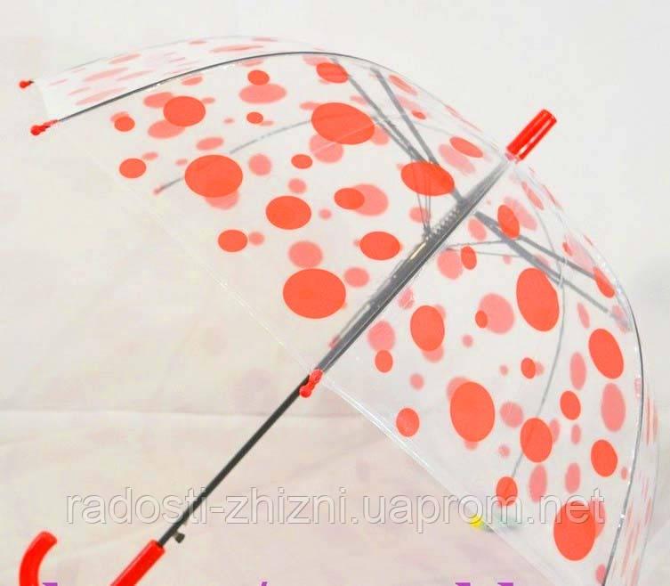Зонт трость полуавтомат детский прозрачный купол, фото 1