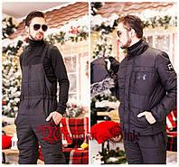 Мужской зимний горнолыжный костюм-комбинезон.