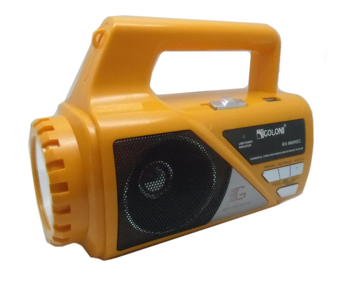 Golon RX-660 REC USB/SD MP3 FM Фонарь