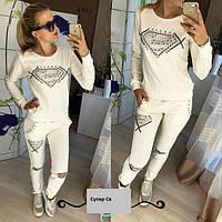 Женский спортивный костюм  с камнями Superstar (черный и белый)