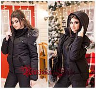 Женский черный зимний лыжный костюм-комбинезон., фото 1