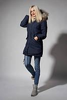 Утепленная зимняя женская куртка цвета синий джинс